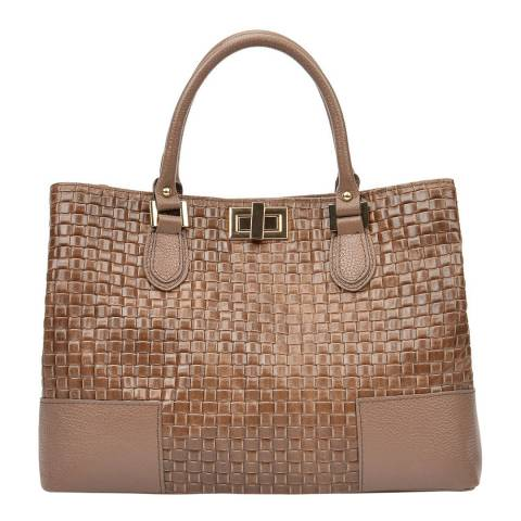 Carla Ferreri Beige Leather Tote Bag