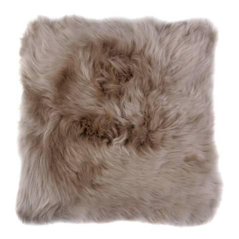 AUSKIN Taupe Longwool Sheepskin Cushion 50x50cm