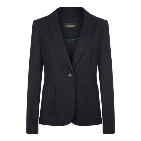 Jaeger Navy Wool Blend Herringbone Jacket
