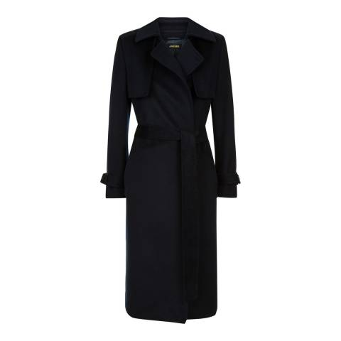 Jaeger Navy Wool Blend Trench Coat