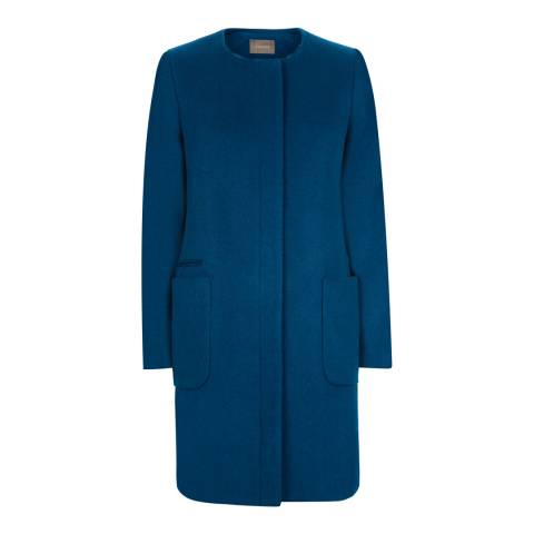 Jaeger Teal Wool Blend Collarless Coat
