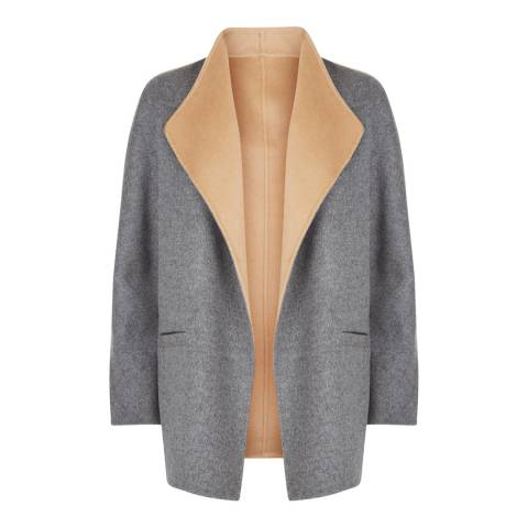 Jaeger Grey/Camel Wool Duster Coat