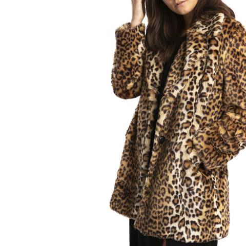 JayLey Collection Faux Fur Animal Print Long Jacket