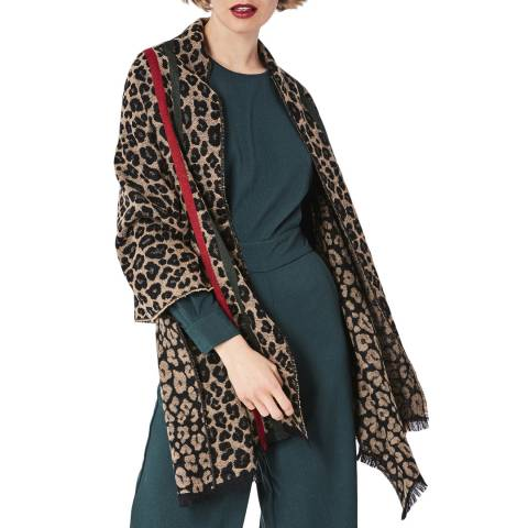 JayLey Collection Cashmere Blend Dark Leopard Print Wrap
