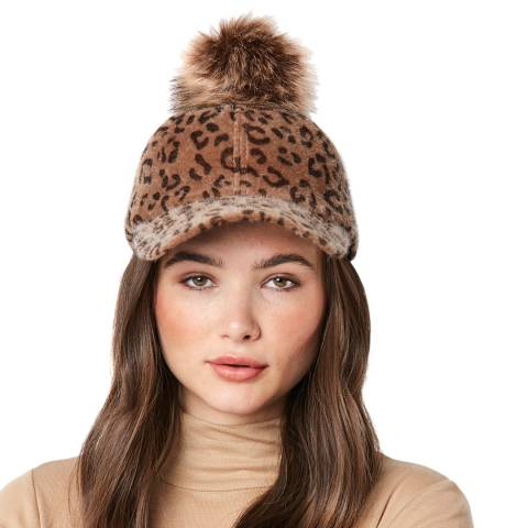 JayLey Collection Animal Print Cashmere Blend Cap With Pom