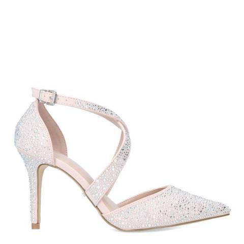 Carvela Nude Suedette Kross Jewel Heel Court Shoes