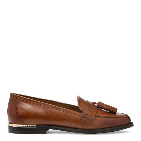 Carvela Tan Leather Mercury Tassel Loafers
