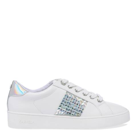 Carvela White Jazzier Embellished Low Top Trainers