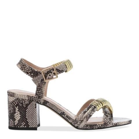 Carvela Snake Print Skipper Embellished Block Heel Sandals