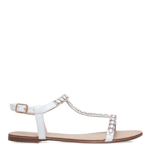 Carvela White T-Bar Blaze Flat Sandals