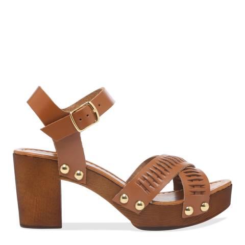 Carvela Tan Bold Chunky Block Heel Sandals