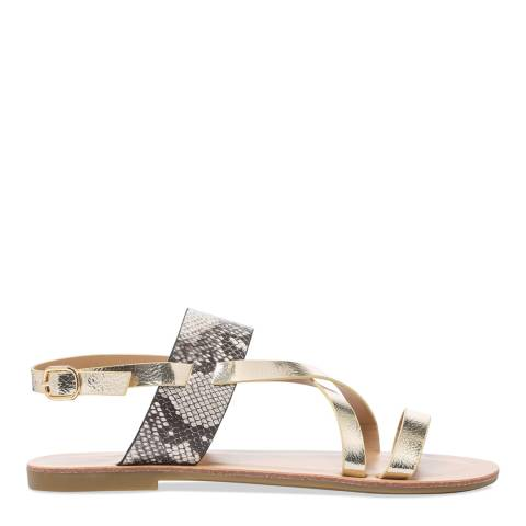 Carvela Kurt Geiger Gold & Snake Print Brink Metallic Strappy Sandals