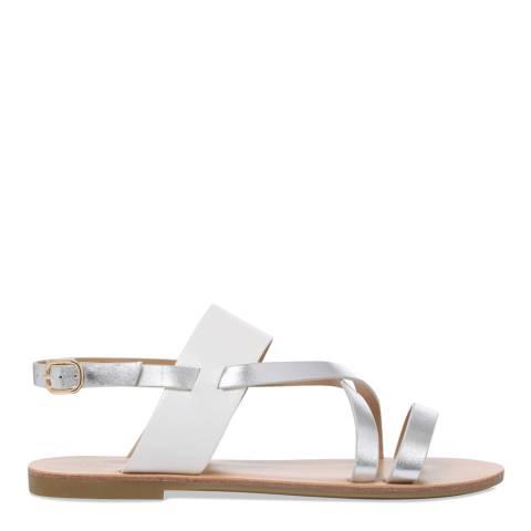 Carvela White & Silver Brink Metallic Strappy Sandals