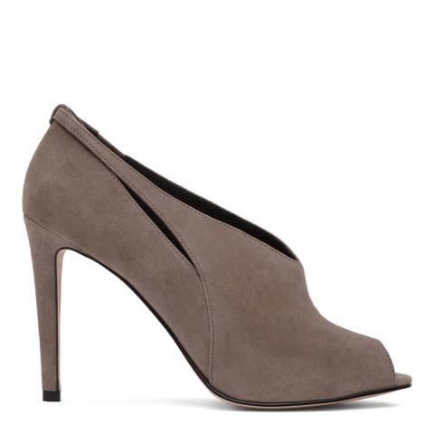 Reiss Grey Dalida Suede Peep Toe Heel