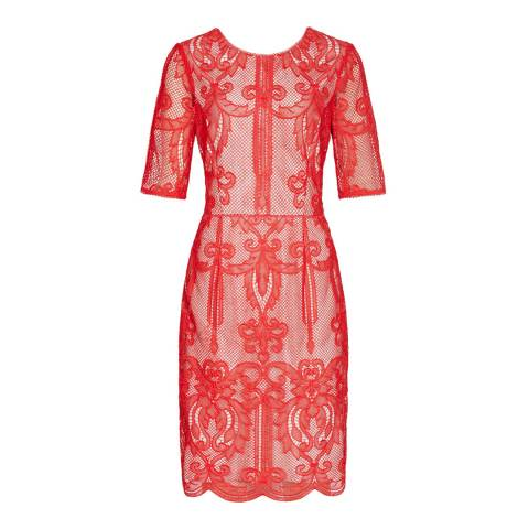 Reiss Red Zola Lace Dress