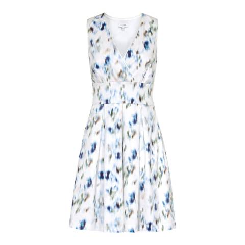 Reiss Off White/Blue Anabella Dress