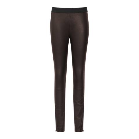 Reiss Chocolate Carrie Leather Leggings