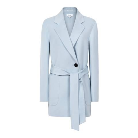 Reiss Light Blue Austen Wool Blend Coat