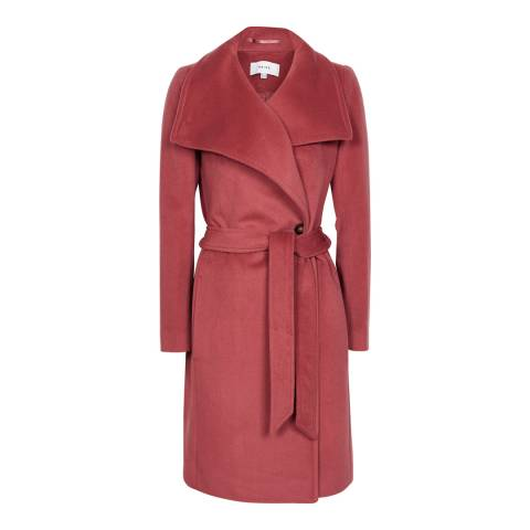 Reiss Raspberry Luna Wool Coat