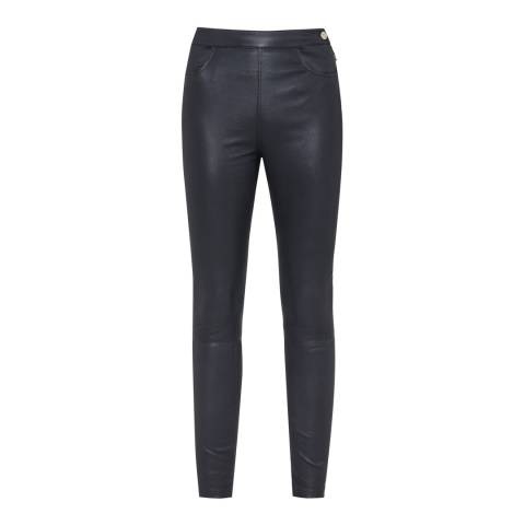 Reiss Navy Vine Leather Trousers