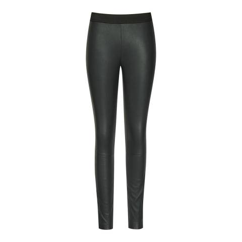 Reiss Olive Carrie Leather Leggings