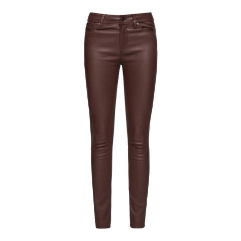 Reiss Oxblood Darcie Leather Trousers