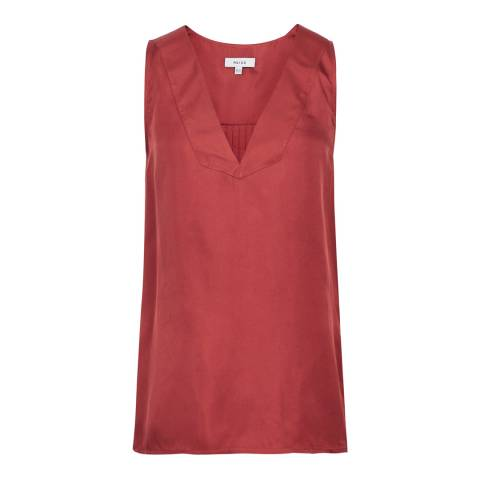 Reiss Deep Pink Jorja Silk Tank Top