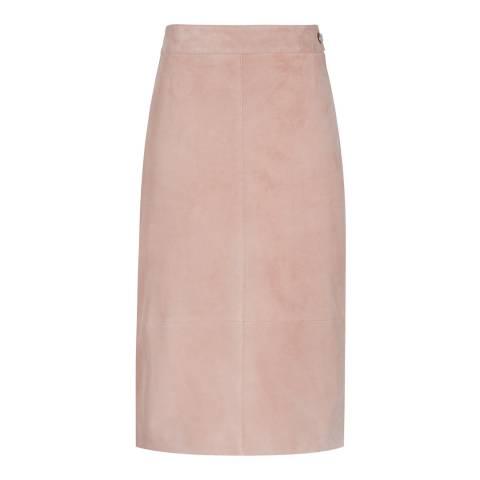 Reiss Blush Tess Goat Suede Skirt