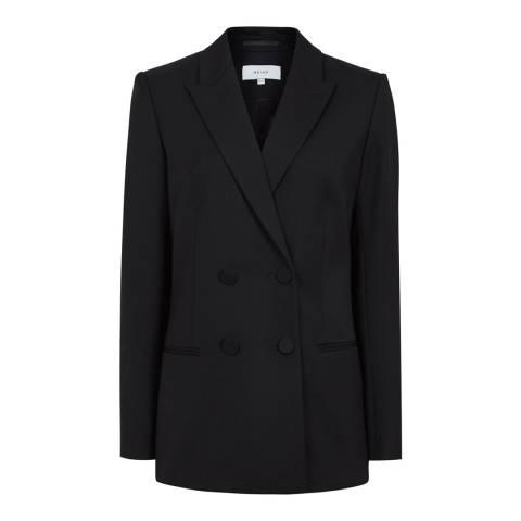 Reiss Black Nola Wool Tailored Blazer