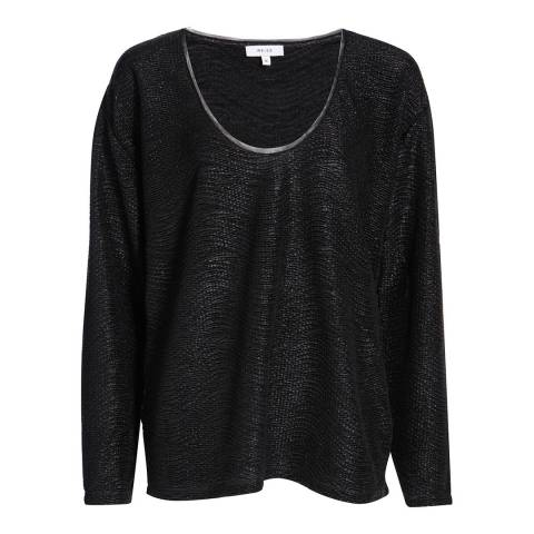 Reiss Black Tor Textured Top