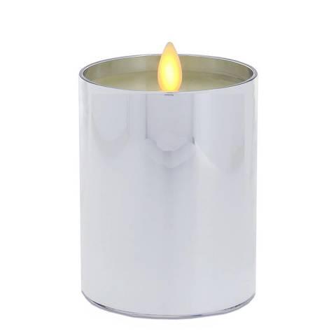 Luminara Silver Metal Pillar Candle 13cm