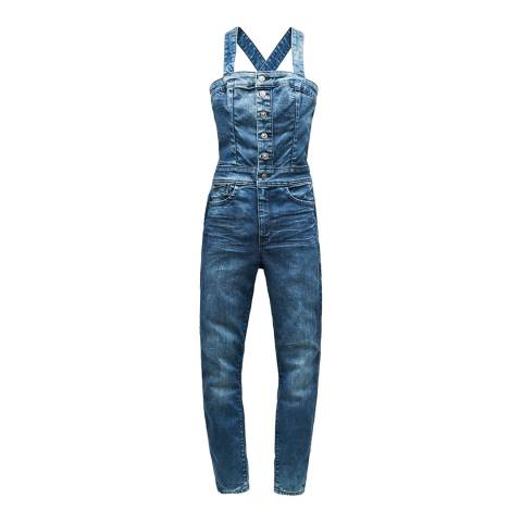 G-Star Mid Blue Lynn Pinafore Stretch Jumpsuit