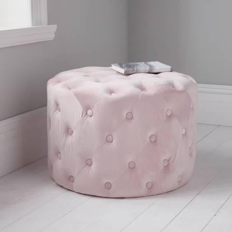 Native Home & Lifestyle Pastel Pink Tufted Velvet Stool 60x42cm