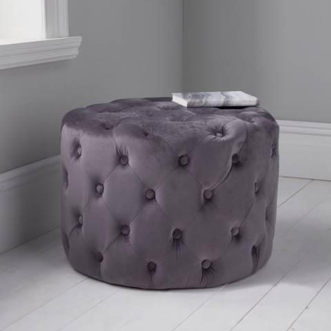 Native Home & Lifestyle Grey Tufted Velvet Stool 60x42cm