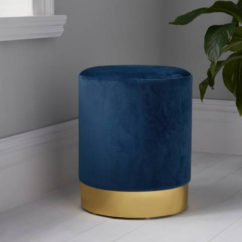 Native Home & Lifestyle Mystique Blue Round Velvet Stool