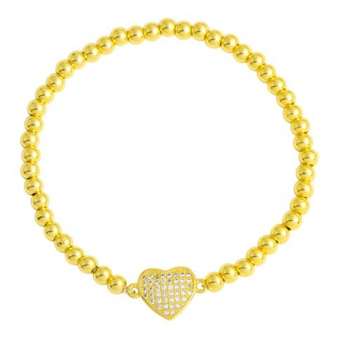 Chloe Collection by Liv Oliver Gold Love Heart Pave CZ Bracelet