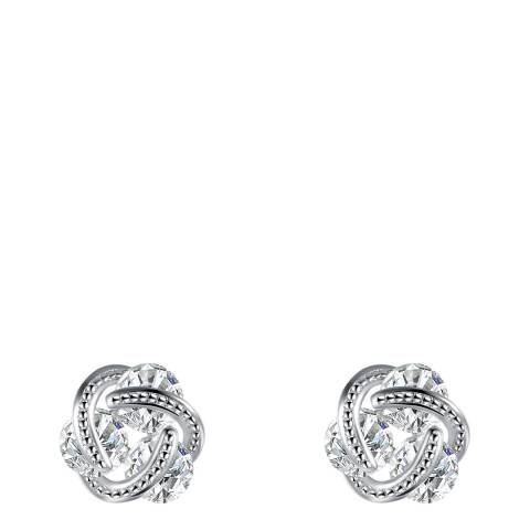 Chloe Collection by Liv Oliver Silver Love Know CZ Stud Earrings