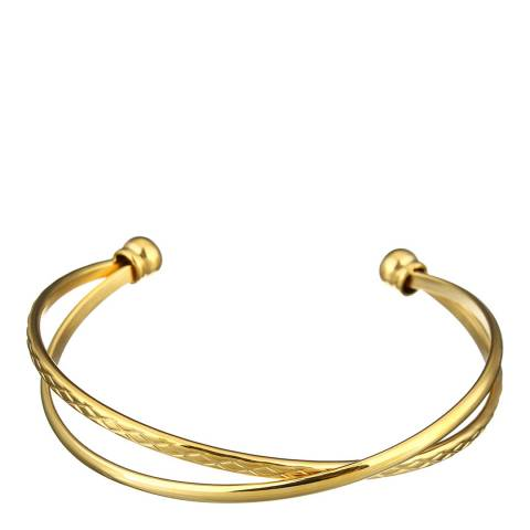 Chloe Collection by Liv Oliver Gold Criss Cross Gold Bangle