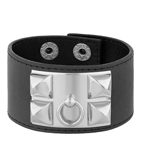 Chloe Collection by Liv Oliver Silver / Black Leather Lock Bracelet