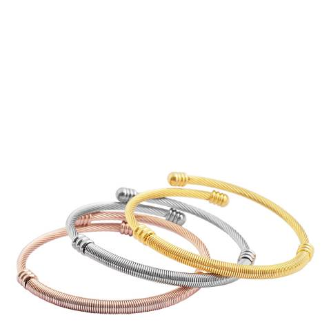 Chloe Collection by Liv Oliver Tri-Colour Bangle Set