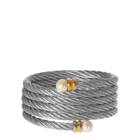Chloe Collection by Liv Oliver Gold/Silver Two Tone Wrap Pearl Bangle