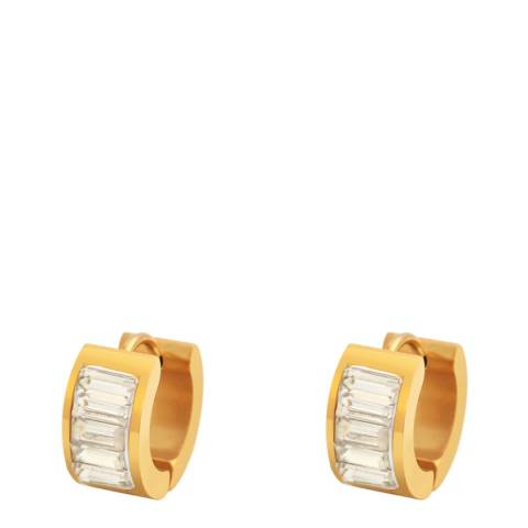 Chloe Collection by Liv Oliver Gold Channel Set Cubic Zirconia Huggie Earrings