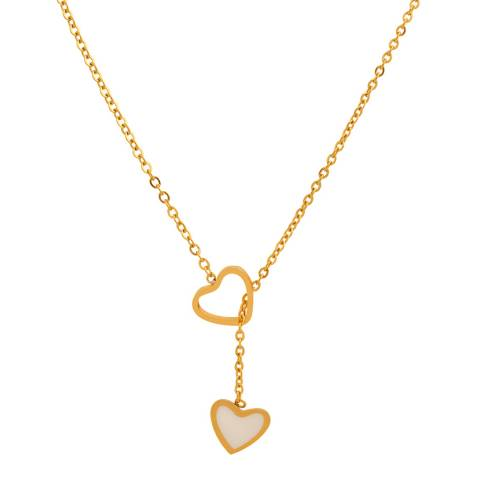 Chloe Collection by Liv Oliver Gold Mother of Pearl Heart Lariat Necklace