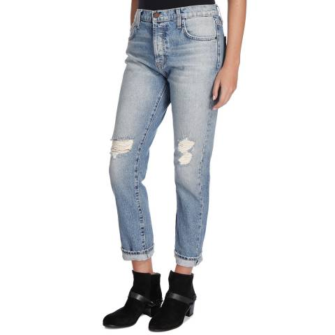 Current Elliott Light Blue Pinyon Slouchy Skinny Cotton Jeans