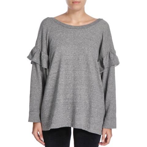 Current Elliott Heather Grey Ruffle Cotton Sweatshirt