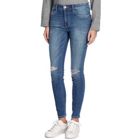 Current Elliott Mid Blue High Waist Ankle Skinny Jeans
