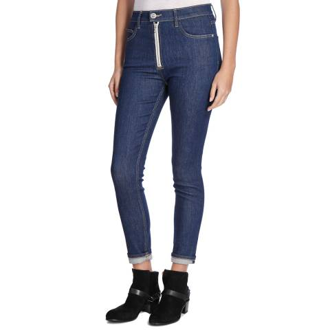 Current Elliott Indigo Ultra High Waist Zip Skinny Jeans