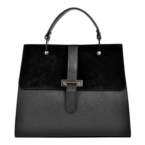 Renata Corsi Black Leather Top Handle Tote Bag