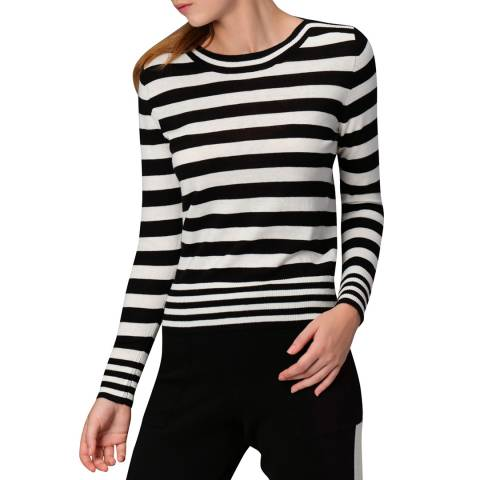 Manode Black-White Cashmere Blend Knitted Pullover
