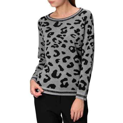 Manode Light Grey-Black Cashmere Blend Knitted Pullover